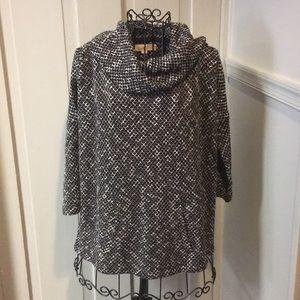 LOFT Black & White Cowl Neck Sweater